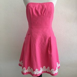 Lilly Pulitzer Hot Pink Strapless Dress Size 4